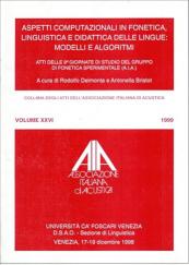 Aspetti computazionali in fonetica, linguistica e didattica delle lingue: Modelli e algoritmi
